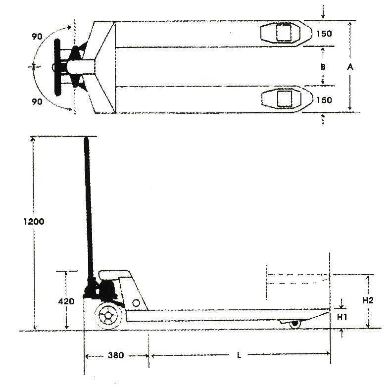 油壓拖板車規格圖